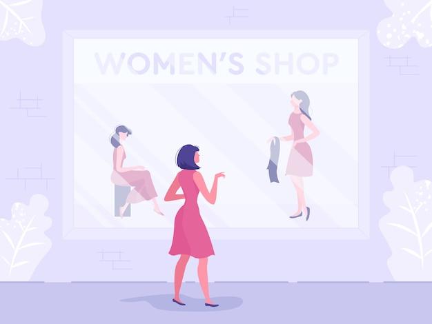 Femme, choisir, vêtements, mannequin, magasin, fenêtre
