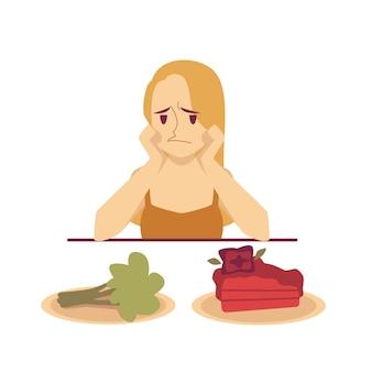 Femme choisissant entre illustration de dessert et de régime alimentaire.