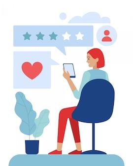 Femme client utilisant l'application d'évaluation mobile