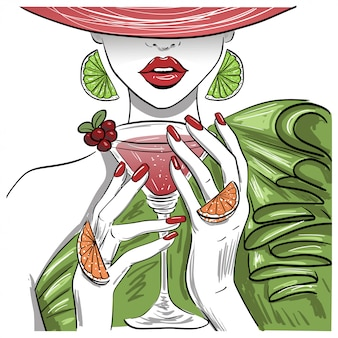 Femme, cocktail, martini citrus, dans, chapeau