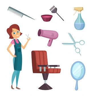 Femme coiffeuse au travail