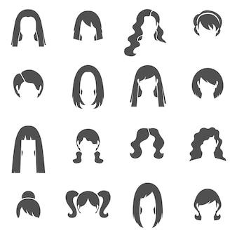 Femme coiffure noir icons set