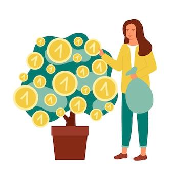 Une femme collecte des pièces en ramassant de l'argent dans une usine d'argent financement de la stratégie des investisseurs