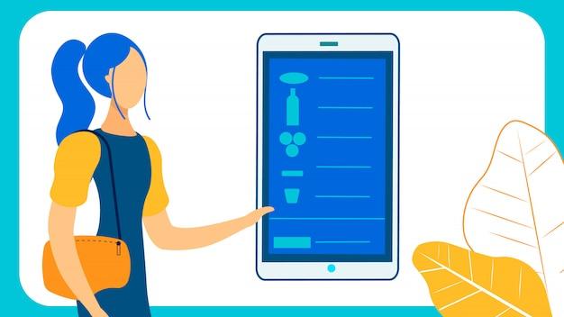 Femme commande alimentaire en ligne plat vector illustration