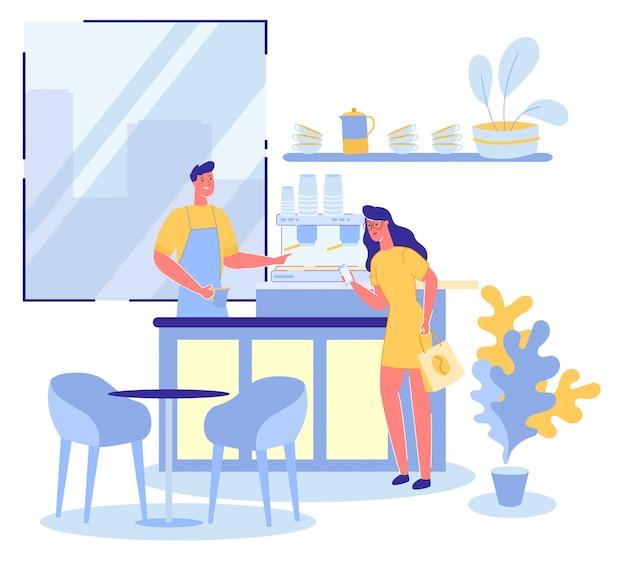 Femme commande une tasse de café dans un café ou un bar à expresso.