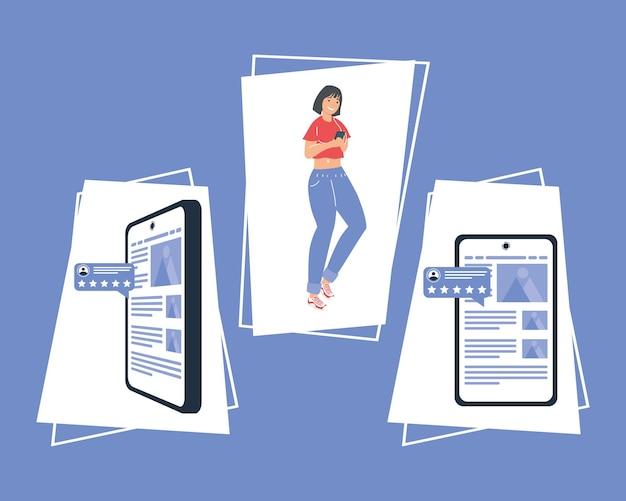 Femme avec commentaires et smartphones