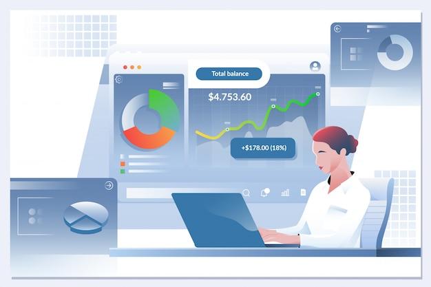 Femme comptable ou banquier effectuant des calculs