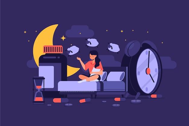 Femme comptant le concept d'insomnie de moutons