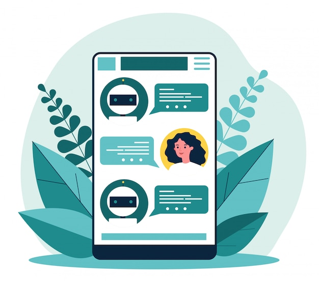 Femme consultant chatbot