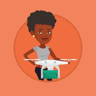 Femme, contrôler, livraison, drone, poste, paquet