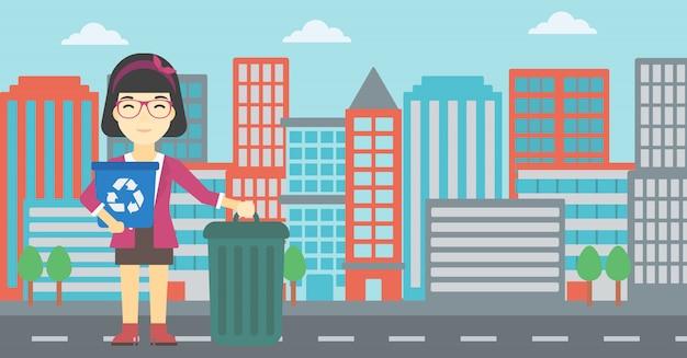 Femme avec corbeille et poubelle.