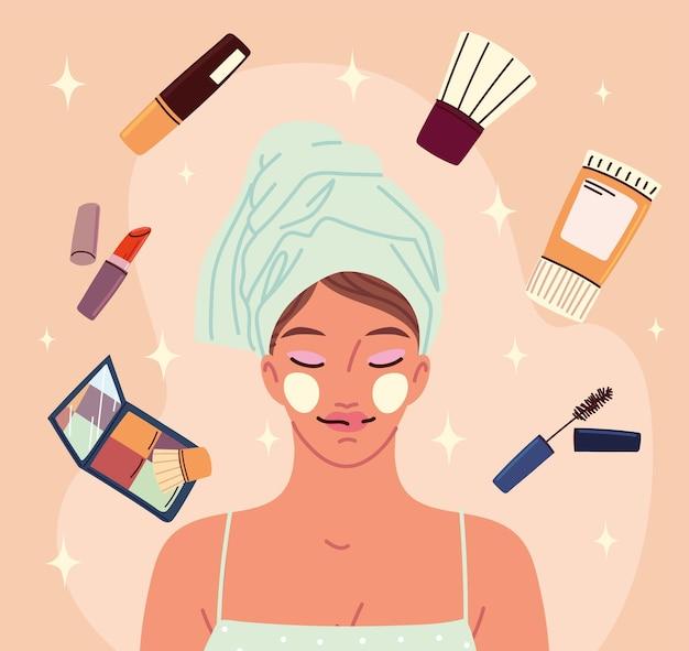 Femme avec des cosmétiques de maquillage