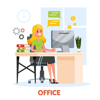 Femme en costume assis au bureau et travaillant