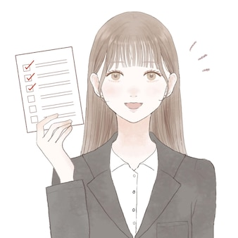 Femme en costume avec liste de contrôle. sur un fond blanc.