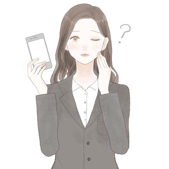 Femme en costume avec un smartphone et un doute. sur fond blanc.