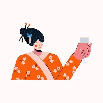 Femme en costume traditionnel de geisha levant le verre