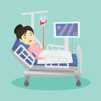 Femme couchée dans l'illustration du lit d'hôpital.