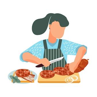 Femme coupant des saucisses pour un sandwich