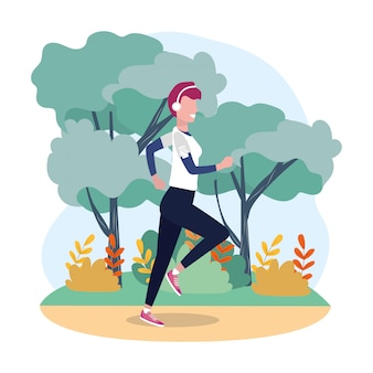 Femme, courant, exercice, activité, dans, les, paysage
