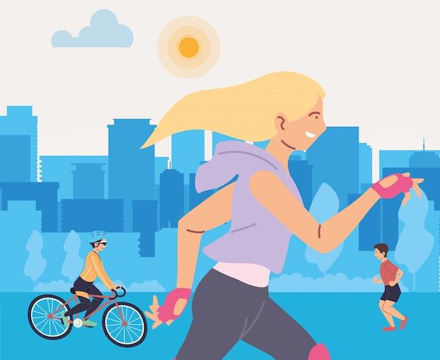 Femme en cours d'exécution et personnes à la conception de la ville, restez en bonne santé, sport et activité de plein air