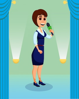 Femme créative donnant une conférence sur scène au public