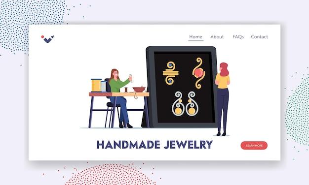 Une femme crée un modèle de page de destination de bijouterie. personnage féminin faisant des bijoux de ficelle de fil de cuivre et de perles colorées sur le fil. artisanat créatif, concept de passe-temps fait à la main. illustration vectorielle de dessin animé