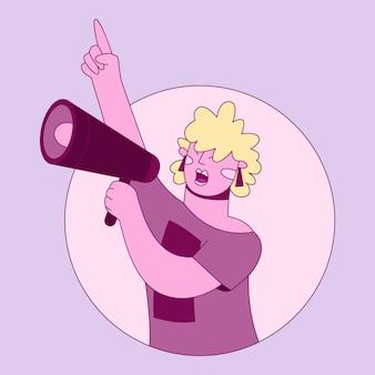 Femme, crier, mégaphone