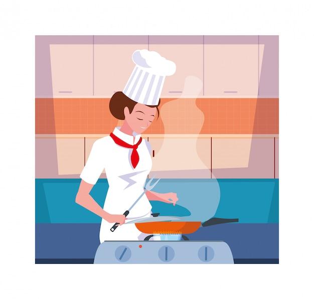 Femme, cuisine, chef, blanc, uniforme