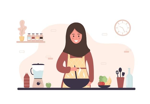 Femme cuisine dans la cuisine. fille souriante préparant des repas faits maison pour le déjeuner ou le dîner.