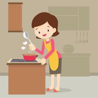 Femme, cuisine, dans cuisine