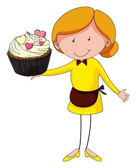 Femme et cupcake géant