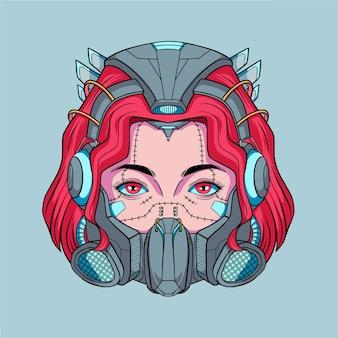 Femme cyborg cyberpunk dessiné main avec illustration de cheveux rouges