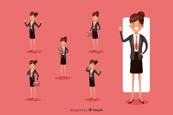 Femme d'affaires faisant différentes actions