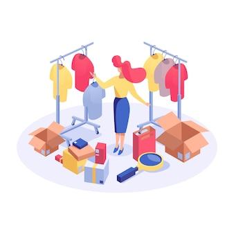 Femme dans une boutique de vêtements isométrique
