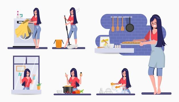 Femme dans le caractère d'activité de routine quotidienne de la mère. restez à la maison concept de personnage.