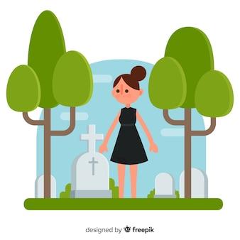 Femme dans cimetière