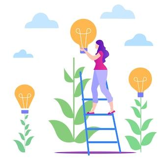 Femme dans les escaliers avec lampe jaune. cultiver une idée.