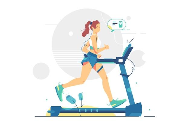 Femme, dans, gymnase, train, sur, tapis roulant, illustration