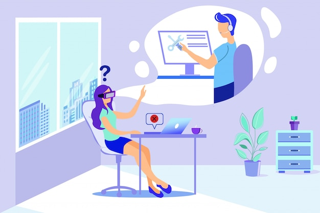 Femme dans les lunettes de protection homme aide virtuelle de repairman