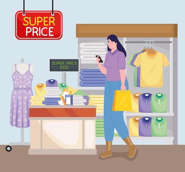 Femme dans un magasin de vêtements