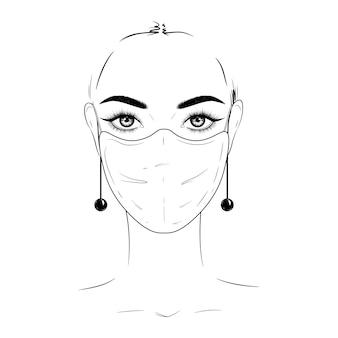 Femme, dans, masque médical