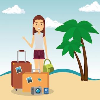 Femme dans le personnage de la plage