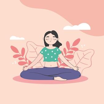 Femme, dans, position yoga, concept