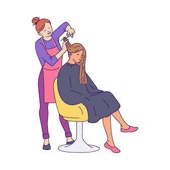 Femme dans un salon de beauté et une illustration de croquis de coiffeur isolée