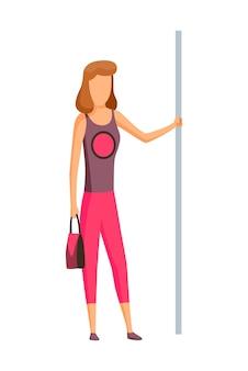 Femme dans la voiture de métro de métro. transports en commun, métro urbain transport en commun avec passager debout. concept de design