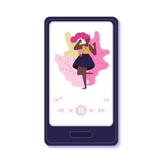 Femme dansante sur l'interface de l'application de musique mobile sur l'écran du téléphone