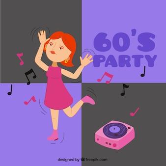 Femme danse dans un fond sixties parti