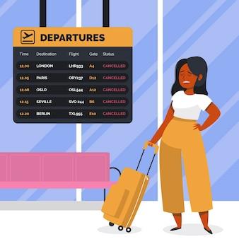 Femme, debout, aéroport, annulé, vol, concept