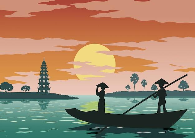 Femme debout dans le bateau pour aller payer le respect