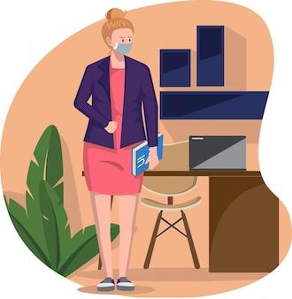Une femme debout devant le bureau tout en apportant une illustration de livre